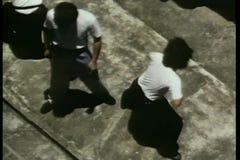 Widok z lotu ptaka grupa mężczyzna ćwiczy karate zbiory