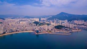 Widok z lotu ptaka Gwangalli plaża w Busan mieście, Południowy Korea Aeria obraz royalty free