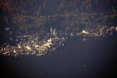 Widok z lotu ptaka Hallstatt jezioro i miasteczko, Salzkammergut, Austria Obraz Stock