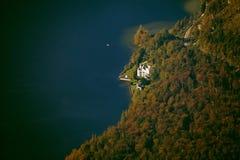 Widok z lotu ptaka Hallstatt jezioro, Salzkammergut, Austria Obraz Stock