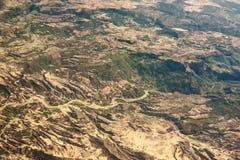 Widok z lotu ptaka halny rzeczny Seyhan w południowym Turcja fotografia stock