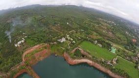 widok z lotu ptaka: Hangdong Uroczysty jar w Chiang Mai, Tajlandia Rezerwuar od starej ziemi kopalni zbiory