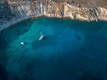 Widok Z Lotu Ptaka historyczna wioska Lindos na Rhodes Grecja wyspie Fotografia Stock