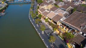 Widok z lotu ptaka Hoi stary miasteczko lub Hoian antyczny miasteczko obraz royalty free