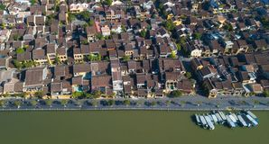 Widok z lotu ptaka Hoi stary miasteczko lub Hoian antyczny miasteczko obraz stock