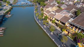 Widok z lotu ptaka Hoi stary miasteczko lub Hoian antyczny miasteczko obrazy royalty free