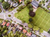 Widok z lotu ptaka Holenderski miasteczko, builidings, park, rondo zdjęcia royalty free