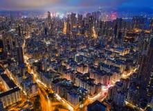 widok z lotu ptaka Hong kong śródmieście Pieniężny okręg i busine obraz royalty free