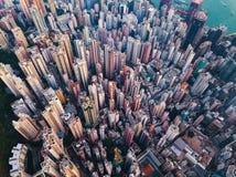 widok z lotu ptaka Hong kong śródmieście Pieniężny okręg i busine obrazy royalty free