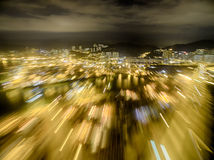 Widok z lotu ptaka Hong Kong nocy scena, Kwai Chung w złotym kolorze zdjęcie stock