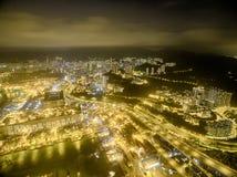 Widok z lotu ptaka Hong Kong nocy scena, Kwai Chung w złotym kolorze obrazy royalty free