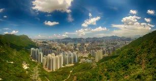 Widok z lotu ptaka Hong Kong scena w słonecznym dniu fotografia stock