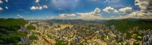 Widok z lotu ptaka Hong Kong scena z Wiktoria schronieniem w słonecznym dniu zdjęcie royalty free