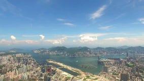 Widok z lotu ptaka Hong Kong scena z Wiktoria schronieniem w słonecznym dniu zdjęcie wideo
