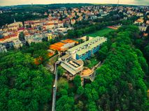 Widok z lotu ptaka hotel NH Praha obrazy royalty free