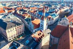 Widok z lotu ptaka i miasto linia horyzontu w Monachium, Niemcy Obrazy Royalty Free