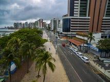 Widok z lotu ptaka i odg?rny widok budynki i miasto ulicy Fortaleza miasto zdjęcia stock