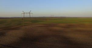 Widok z lotu ptaka idylliczny wiosna paśnik i kultywujący pola 4K zbiory
