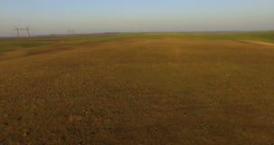 Widok z lotu ptaka idylliczny wiosna paśnik i kultywujący pola 4K zdjęcie wideo