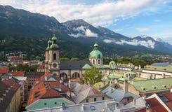 Widok z lotu ptaka Innsbruck od urzędu miasta wierza, Austria zdjęcie stock