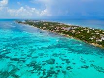 Widok z lotu ptaka Isla Mujeres w Cancun, Meksyk Zdjęcie Stock
