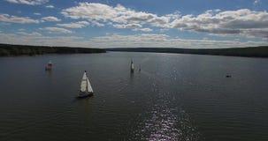 Widok z lotu ptaka, jachtu żeglowanie na jeziorze Powietrzne wideo żeglowanie łodzie przy słonecznym dniem na dużym jeziorze zbiory wideo
