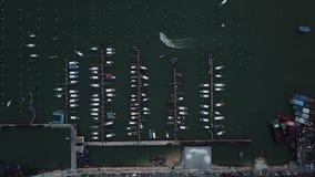 Widok z lotu ptaka jachty i małe łódki w Pattaya, Tajlandia zdjęcie wideo
