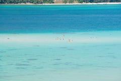 Widok z lotu ptaka jasna błękitne wody Andaman morze w Phuket, Tajlandia Zdjęcia Stock
