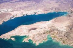 Widok z lotu ptaka Jeziorny dwójniak od above fotografia stock
