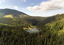 Widok z lotu ptaka Jeziorny Synevir w Karpackich górach w Ukraina fotografia stock