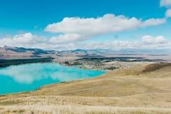 Widok z lotu ptaka Jeziorny Tekapo od góry John obserwatorium w Canter Fotografia Stock