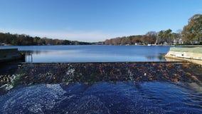 Widok Z Lotu Ptaka jezioro i tama zbiory wideo
