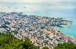 Widok z lotu ptaka Jounieh w Liban obraz stock