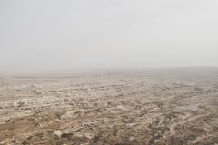 Widok z lotu ptaka Judejska pustynia lokalizować na Zachodnim banku jordan Opustoszały brzeg nieżywy morze Tło zdjęcia royalty free