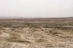 Widok z lotu ptaka Judejska pustynia lokalizować na Zachodnim banku jordan Opustoszały brzeg nieżywy morze Tło zdjęcie royalty free