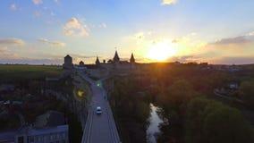 Widok z lotu ptaka Kamenec-Podolsky kasztel Ukraina zbiory