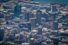 Widok z lotu ptaka Kapsztad dzielnica biznesu z budynkami biurowymi i drapacz chmur obraz stock