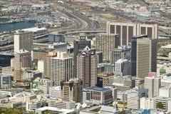 Widok z lotu ptaka Kapsztad linia horyzontu od Stołowej góry, Południowa Afryka Fotografia Royalty Free