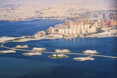 Widok z lotu ptaka Katar wyspa w Doha Katar Perska zatoka Perska zatoka fotografia stock