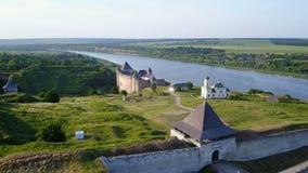 Widok z lotu ptaka Khotyn forteca Ukraina zbiory wideo