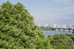 Widok z lotu ptaka Kijów z Dnipro rzeką Ukraina fotografia stock