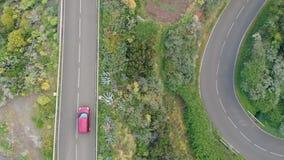 Widok z lotu ptaka - kilka samochodów przepustka przez serpentyny w górach w ogromnej liczbie rośliny w parku narodowym zbiory wideo