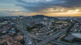 Widok z lotu ptaka KL miasta przedmieście Fotografia Stock