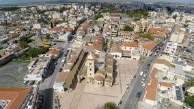 Widok z lotu ptaka kościół święty Lazarus w Larnaka, Cypr piękny pejzaż miejski zbiory wideo