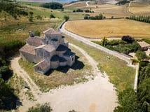 Widok z lotu ptaka kościół w Urueña w Hiszpania fotografia royalty free