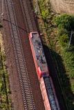 Widok z lotu ptaka kolejowy ślad i pociąg Obrazy Royalty Free