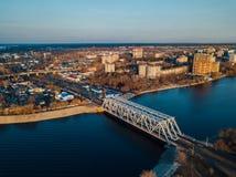 Widok z lotu ptaka kolejowy most nad Voronezh rzek? obrazy royalty free