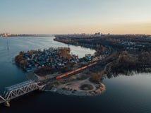 Widok z lotu ptaka kolejowy most nad Voronezh rzek? zdjęcia stock