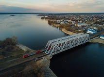 Widok z lotu ptaka kolejowy most nad Voronezh rzek? fotografia royalty free