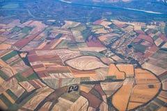 Widok z lotu ptaka kolorów pola w Europa od samolotu przy jesienią obrazy royalty free